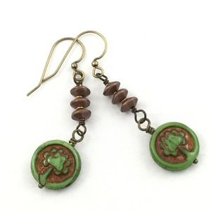 GREEN AND BRASS TREE OF LIFE EARRINGS